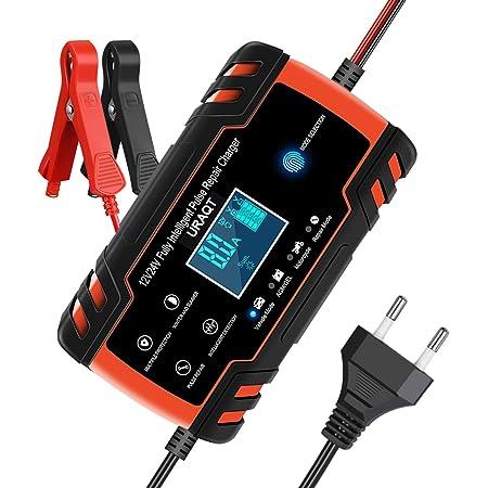 URAQT Chargeur de Batterie pour Auto 12V/24V 8A, Chargeur de Batterie Intelligent Portable avec Automatique Réparation Fonction, Chargeur Auto Moto Chargeur Batterie Mainteneur pour Camion/AGM/GEL etc