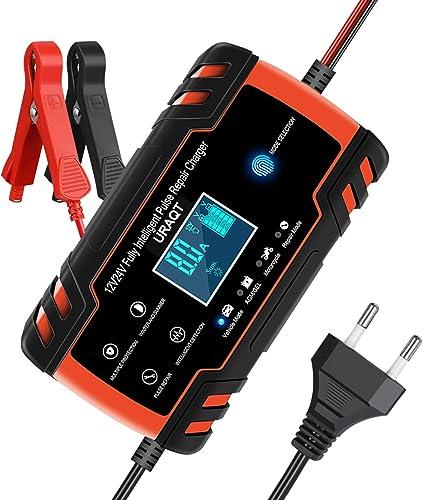 URAQT Chargeur de Batterie pour Auto 12V/24V 8A, Chargeur de Batterie Intelligent Portable avec Automatique Réparatio...