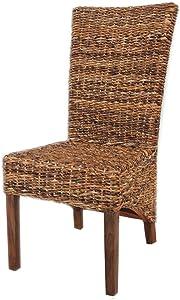 Meubletmoi - Sedia da Sala da Pranzo Intrecciata in Abaca, Stile Vimini, Stile Esotico Classico, Colore: Borneo