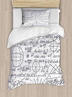 Ambesonne Modern Duvet Cover Set, School Genius Smart Student Math Geometry Science Numbers Formules Image Art, Decorative 2 Piece Bedding Set with 1 Pillow Sham, Twin Size, Dark Purple