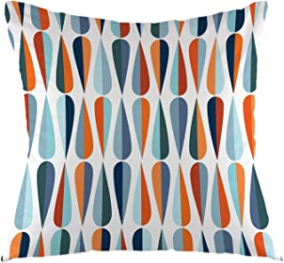 oFloral Throw Pillow Cover Mid-Century Drop Shapes in Tones Modern Retro Style Square Cushion Case for Sofa Couch Car Bedroom Living Room Home Decorative 18