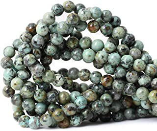 Qiwan 45PCS 8mm Natural African turquoise stone Round Loose Beads for jewelry making DIY Bracelet Making supplies 1 strand 15