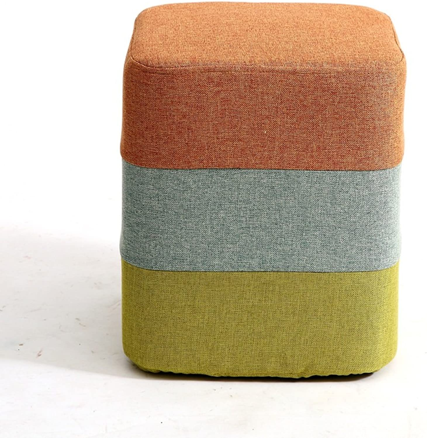 Creative Rainbow Fabric Round Stool, Modern Minimalist Style Study Room Living Room Bedroom Stool, shoes Bench, Sofa Stool, Make-up Bed End Stool, Footstool, 29  35cm