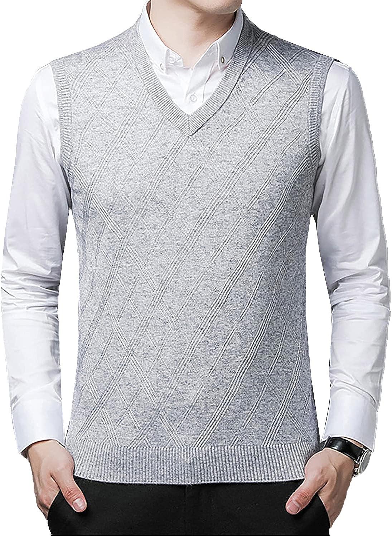 PEHMEA Men's Soft V-Neck Super sale period limited Max 85% OFF Sweater Vest Wool Argyle Fit Slim Blend