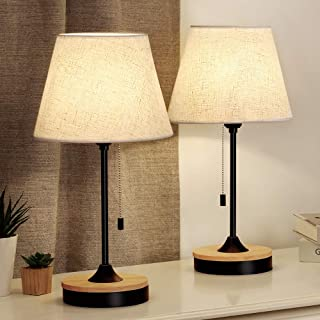 Table Lamp Set of 2, Wood Desk Lamps with Neutral Shade & Soft, Elegant Black Bedside Lamps, Ambient Lamp for Bedroom Nightstand, Coffee Table, Dressers