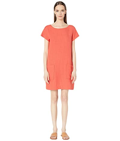 Eileen Fisher Organic Linen Tencel Crepe Bateau Neck Knee Length Dress (Red Lory) Women