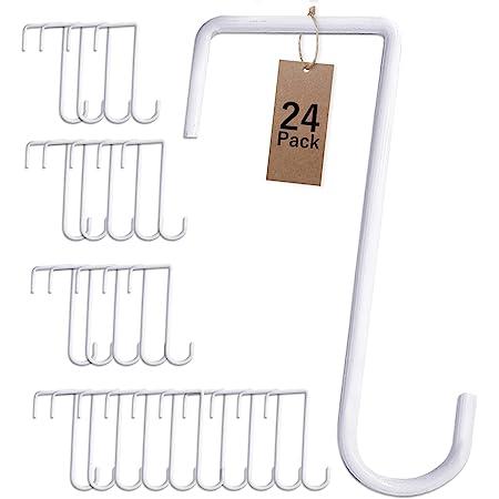 2pcs Hanging Basket Bracket 8 inch White Metal Iron Wall Hanging Hook-Lantern Lawn Light Flower Pots Plant Hanger Garden Home Decoration-Bird Feeder Hanger Outdoor Indoor Patio Garden