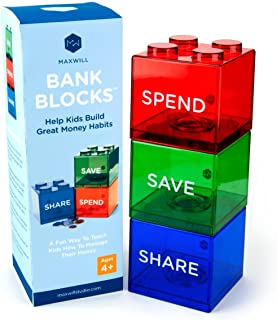 Maxwill Save Spend Share Piggy Bank for Kids - Clear Transparent Plastic Coin Banks for Boys & Girls - Teach Children About Giving & Saving Money - Block Banks