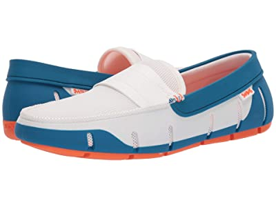 SWIMS Stride Single Band Keeper (White/Seaport Blue) Men