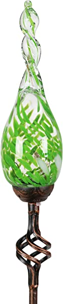 Exhart Solar Garden Stake Lights Solar Glass Green Twisted Flame Garden Stakes Handblown Glass Finial Lights LED Accent Lights That Transform A Garden Driveway Or Event 9in Glass 36in Stake