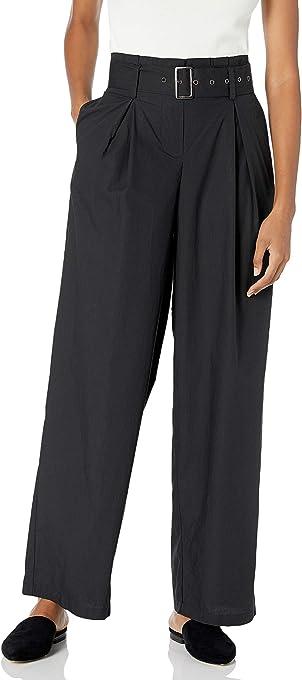 Marca Amazon - The Drop Julia Pantalón de Talle Alto con Pinzas y Cinturón con Pierna en Disminución de Popelín de Algodón