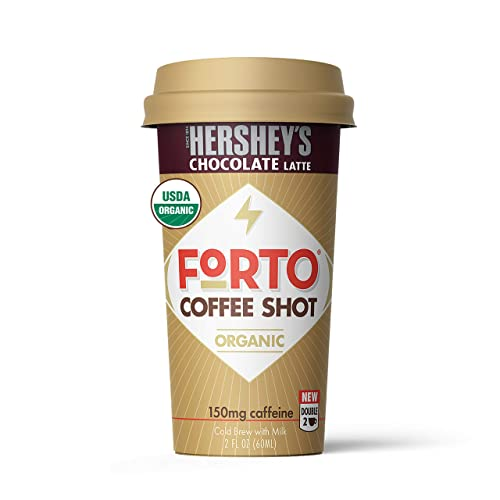 FORTO Coffee Shots - Hershey's Latte, Ready-to-Drink on the go, High Energy Cold Brew Coffee - Fast Coffee Energy Boost, 2 Fl Oz, Pack of 6