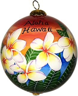 Maui By Design Collectible Handpainted Hawaiian Sunset Sky Plumeria Ornament with Gift Box