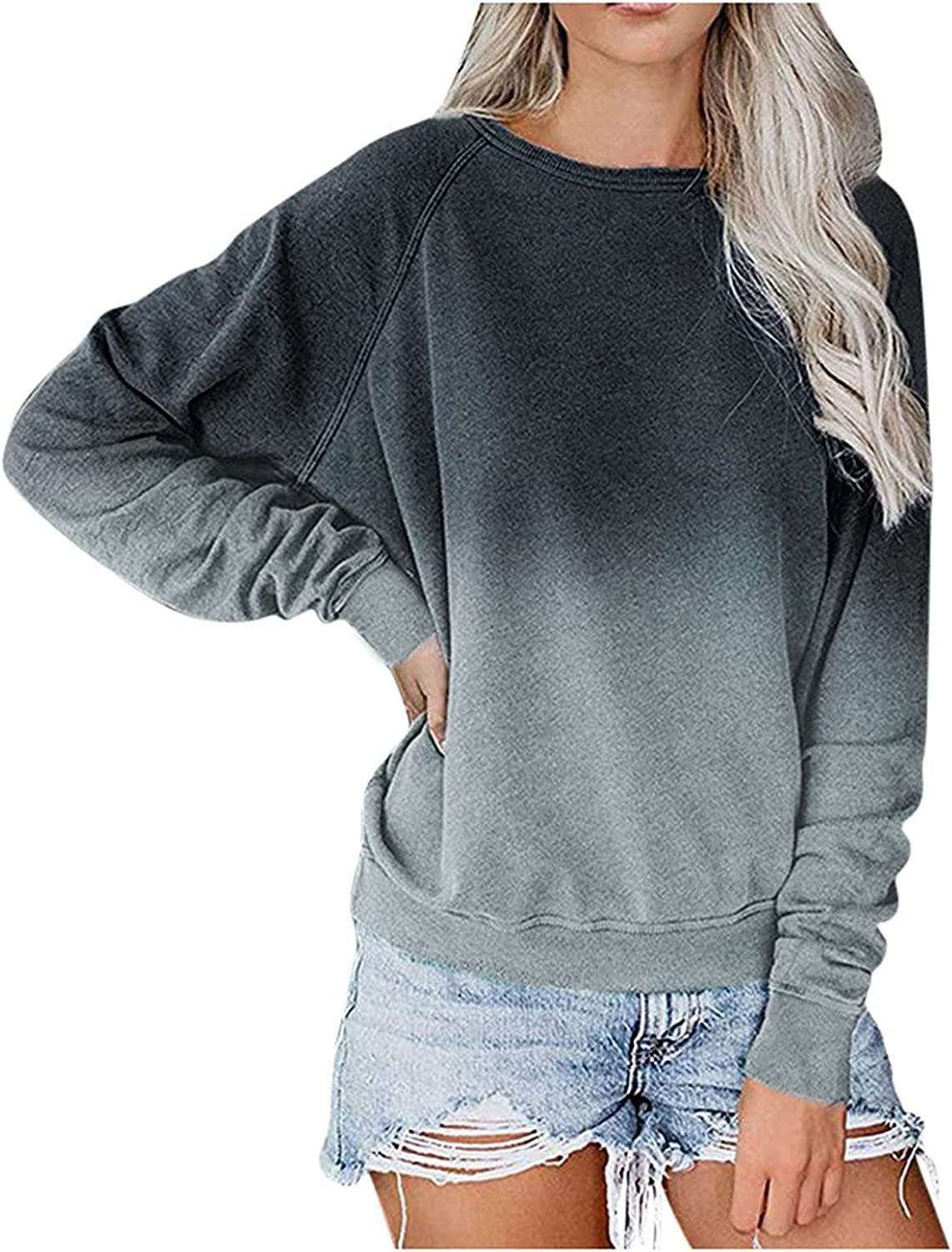 Sweatshirts for Women, Womens Pullover Oversized Vintage Solid Long Sleeve Plus Size Sweatshirt Sweaters Tops Shirts
