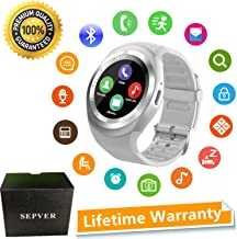 SEPVER Smart Watch Round Bluetooth Smartwatch with SIM Card Slot Compatible with Samsung LG Sony HTC Huawei Google Xiaomi Android Smart Phones for Women Men Kids Boys Girls (White)