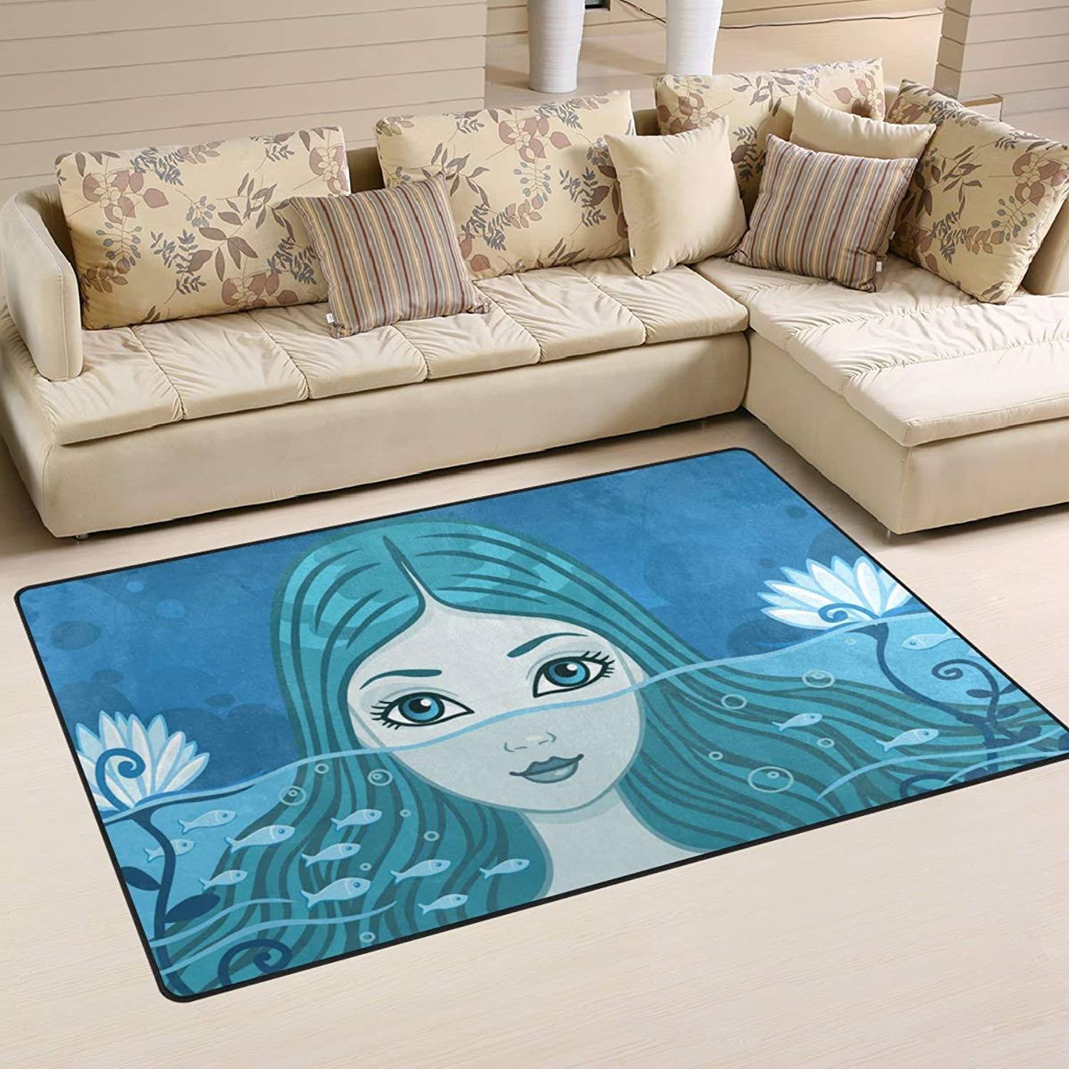 Area Rugs Doormats Beautiful Cute Mermaid 5'x3'3 (60x39 Inches) Non-Slip Floor Mat Soft Carpet for Living Dining Bedroom Home