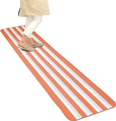 オカ(OKA) キッチンマット オレンジ 約45cm×240cm レインボーブライト (すべり止め 床暖房)