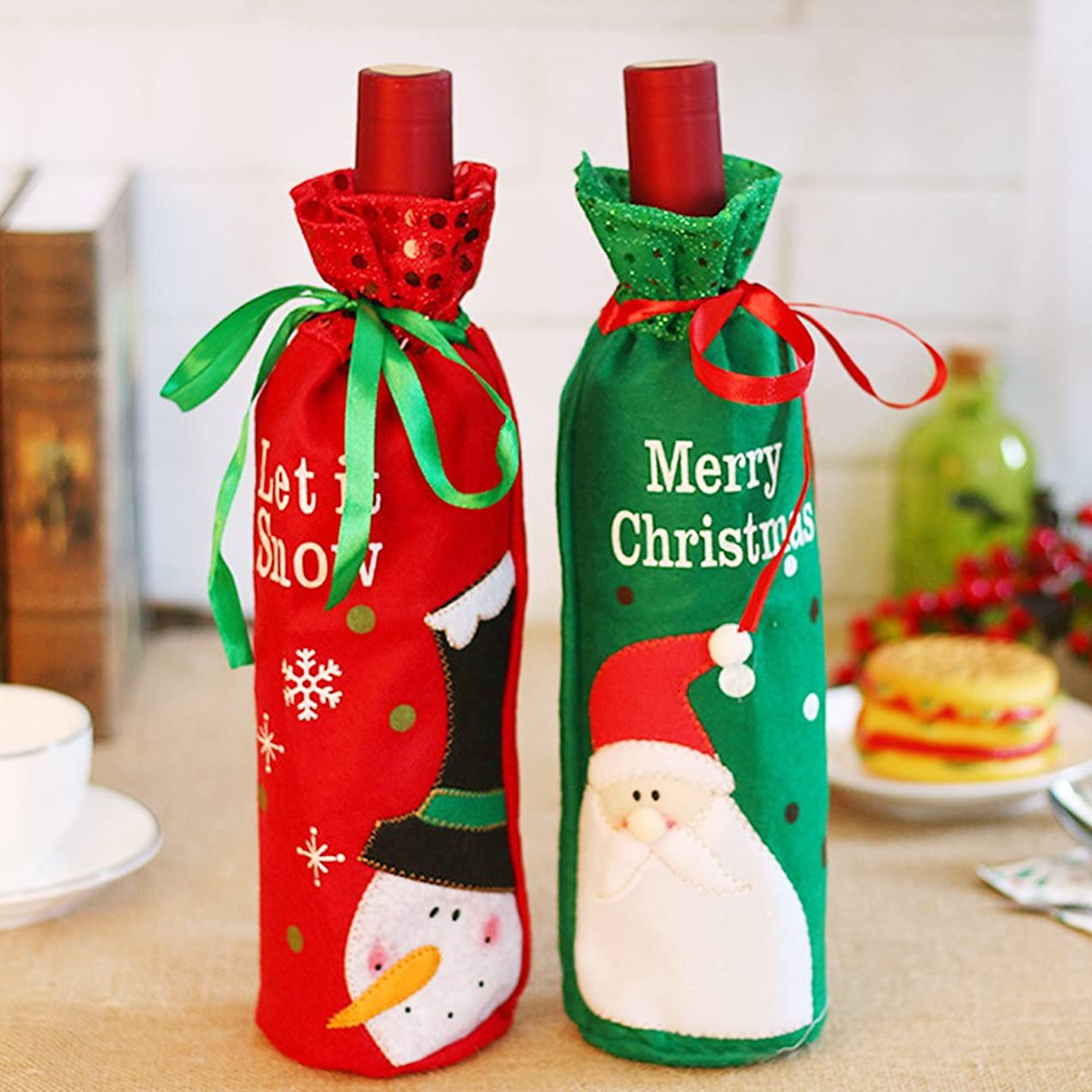 ElementDigital Christmas Wine Bottle Bags Wine Bottle Gift Bags Wine Bottle Xmas Gifts Wine Bag Wine Bottle Cover Bottle Gift Bag Wine Gift Bag Wine Bottle Bag Home Party Decoration