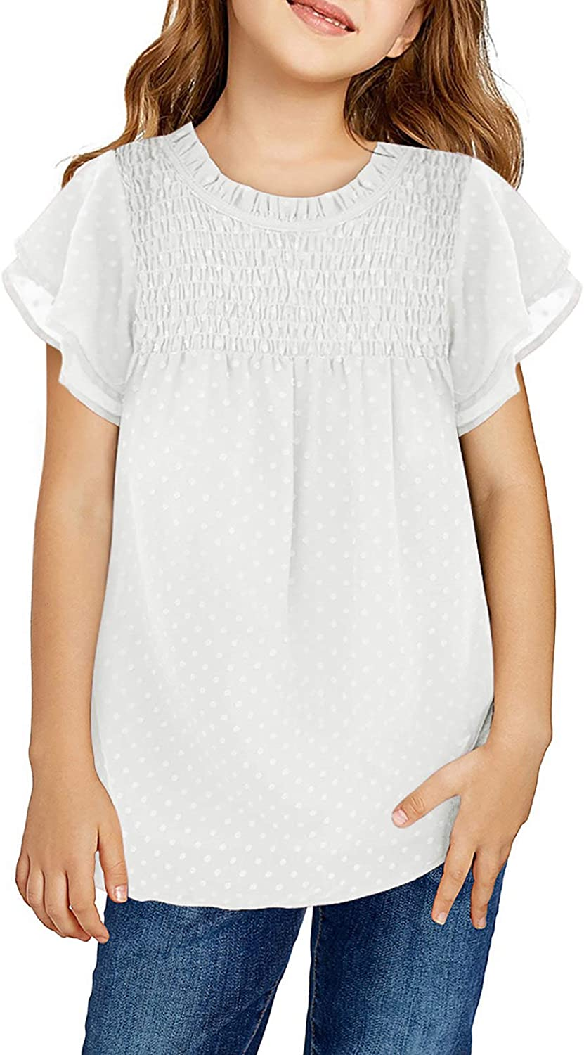 Dokotoo Girls Limited Online limited product time sale Crewneck Lace Crochet Flowy Short Sleeve C Pom