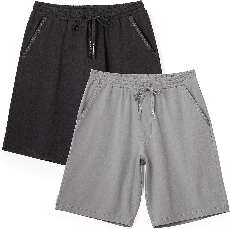 DAVID ARCHY Men's 2 Pack Comfy Cotton Sleep Shorts Lounge Wear Pajama Pants