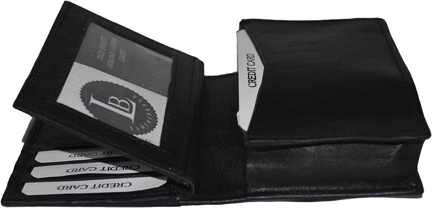Leatherboss Genuine Leather Credit Business Card Holder Case with extra flap and expandable pocket, Black