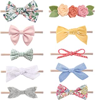 Baby Girl Headbands and Bows, Newborn Infant Toddler Nylon Hairbands Hair Accessories by LittleJoJo