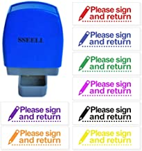 SSEELL Please Sign and Return Reward Stamp Self Inking for School Student Teacher Homework Feedback Stamp Rubber Flash Stamp Self-Inking Pre-Inked RE-inkable School Stationary - Purple Ink Color