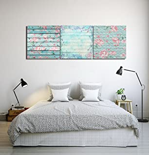 LB Estilo Minimalista Moderno Pared de Patrones de Flores Lienzo Cuadro Arte de la Pared para Sala de Estar Dormitorio decoración del hogar,3 Piezas 40x40,con Marco