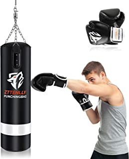 ZTTENLLY Punching Bag with Gloves - UNFILLED Hanging Punching Bag Heavy Bag - Adjustable Weight - Premium Pu Leather - Box...