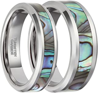 6mm 8mm Tungsten Abalone Shell Inlay Rings for Men Women Couples Opal Wedding Band Size 4-15
