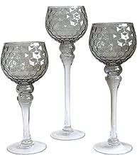Glaskelch Windlicht Set H40//35//30cm mit hohem Kelch geriffelt auf Fu/ß Kerzenhalter Kerzenst/änder Kerzenleuchter Schwarz Silber Small-Preis 3tlg