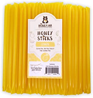 The Honey Jar - Lemon Honey Sticks (Pack of 100) - 15 Calories Per Straw - Made in Ogden, Utah. No Artificial Flavors or C...