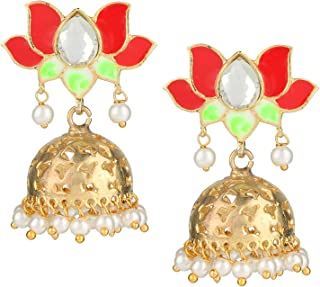 Swasti Jewels Gold Plated Rajwada Jhumka Indian Earrings with Hand Painted Enamel for Girls and Women