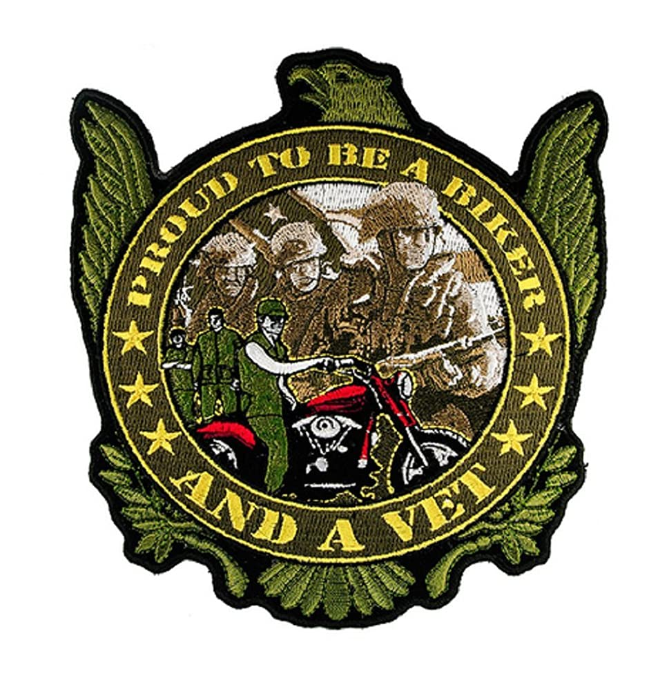 Proud To Be A Biker And A Vet 5x6 inch Iron or Sew on Biker Back Patch FLC1910