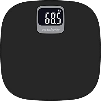 HealthSense Dura-Lite PS 129 Digital Body Weight Personal Bathroom Scale with Backlight (Smoky Black)