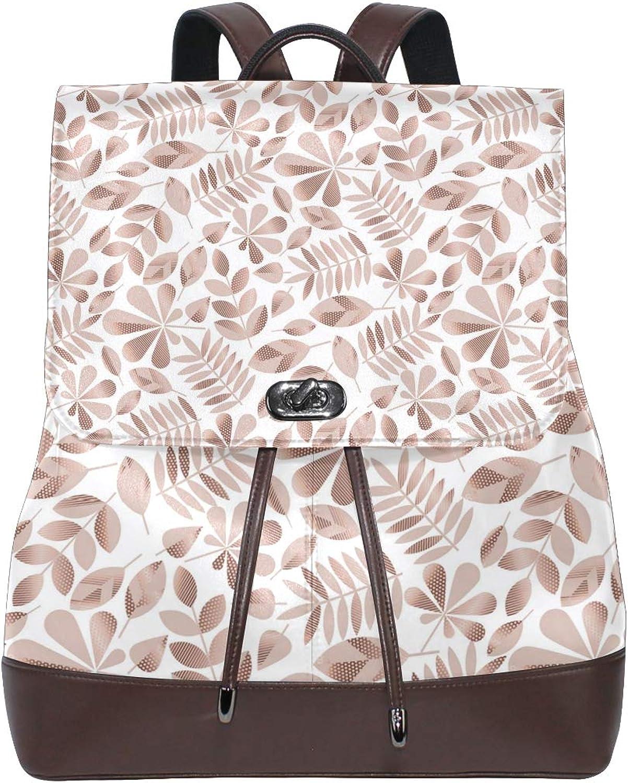 Fashion Shoulder Bag Rucksack PU Leather Women Girls Ladies Backpack Travel Bag pink gold Wave Point