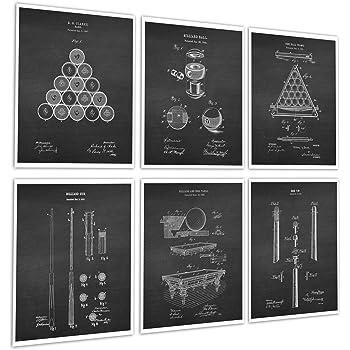 Billiards Pool Room Decor Set of 6 Unframed Patent Art Prints of Billiard Pool Table Billiard Balls Billiard Cue