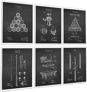 Billiards Pool Room Decor Set of 6 Art Prints of Billiard Pool Table Billiard Balls Billiard Cue Invention Diagrams Patents_Billiard_Chk6A