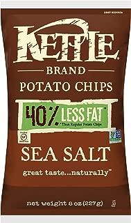 Kettle Brand Potato Chips, 40% Less Fat Sea Salt, 8 Ounce (Pack of 12)
