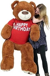 Big Plush Happy Birthday Giant Teddy Bear Five Feet Tall Cinnamon Color Wears T Shirt That Says Happy Birthday