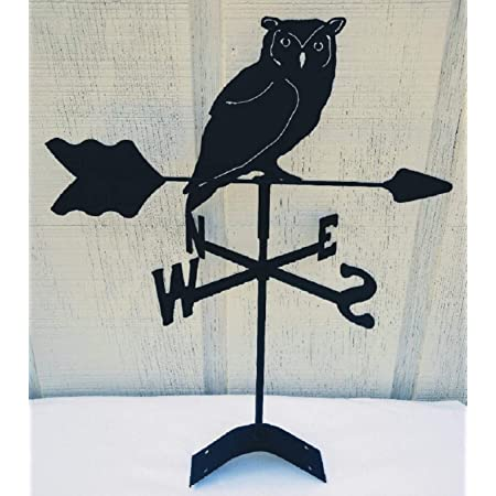 The Lazy Scroll Owl Roof Mounted Weathervane Black Wrought Iron Look