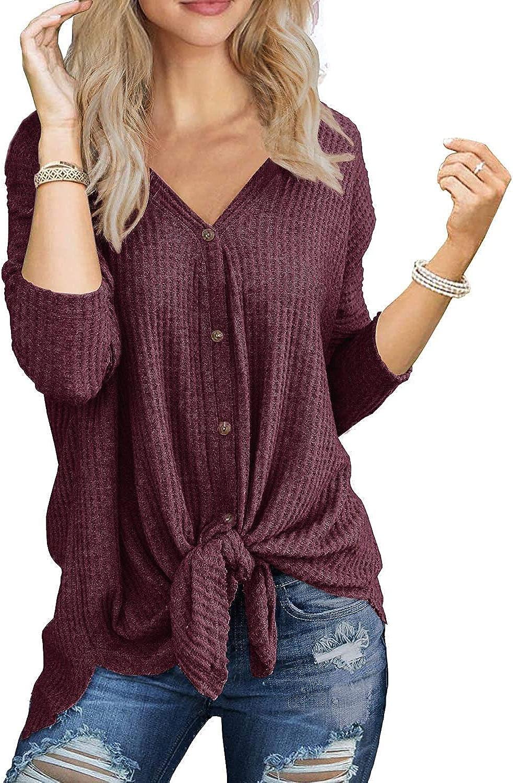 osazic Womens Waffle Knit Tunic Blouse Tie Knot Henley Tops Loose Fitting Bat Wing Plain Shirts S-2XL