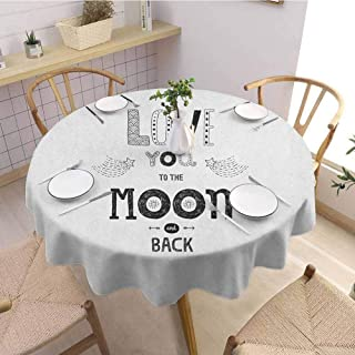 Luoiaax Love Oil Resistant and Durable Round Table Cover Boho Hipster Sketch Art Style Phrase Stars Arrows Comets Vintage Astronomy Design Kitchen Available D43 Inch Round Black White
