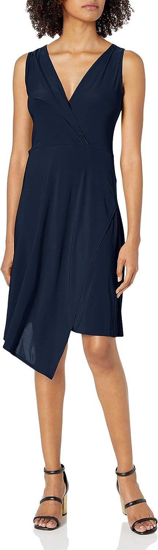 Star Vixen Women's Sleeveless Asymmetrical Faux-Wrap Dress with Fold-Over Collar