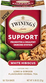Twinings of London Daily Wellness Tea, Support Healthy Immune System White Hibiscus, Lime & Ginger, Flavored Herbal Tea, 1...