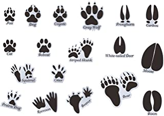 Mozamy Creative Animal Tracks Wall Decals (18 Count) Animal Wall Decals Animal Tracks Wall Decor Boys Room Wall Decals Removable Peel and Stick Wall Decals, Black