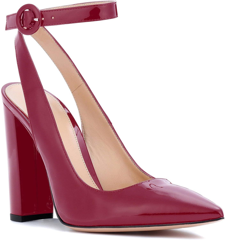 YBeauty Women's Slingback Pumps Block Heel Sandals Ankle Strap Buckle shoes Pointed Toe 10cm