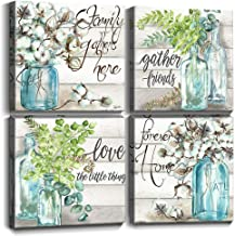 kitchen Decor Canvas Prints Wall Art for Bedroom Dining Room Teal Green Rustic Home Decoration Watercolor Style Mason Jar Artwork Signs Framed Pictures Family Gather Vase Floral Set 4 Panel 12x12 inch