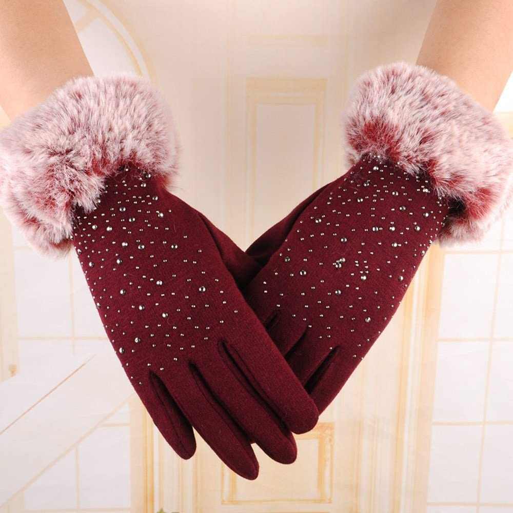 UIUYA Winter Touchscreen Gloves Warm Anti-Slip Knit Glove Thick Windproof Soft Lined Mittens Ski Outdoor for Women and Girls