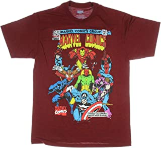 Avengers Shirt Vintage Comic Book Cover Captain America Ironman Spider-Man Vision Black Panther Adult T-Shirt